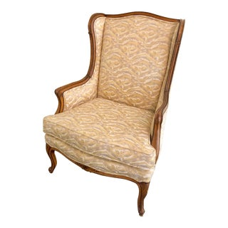 1940s French Bergere Chair Upholstered in Duralee Fabric For Sale