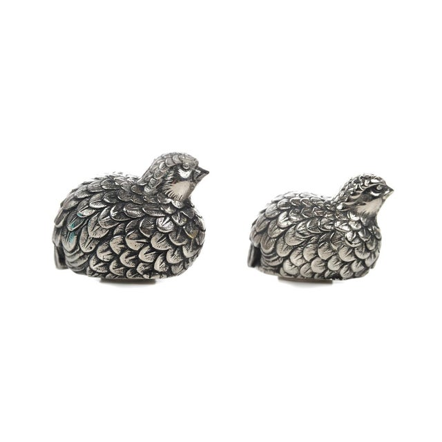 Gucci Pewter Quail Salt & Pepper Shakers For Sale - Image 5 of 9
