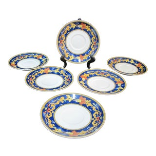 Early 20th Century Bernardaud Limoges Cobalt Roma Bleu Greek Key Floral Plates - Set of 6 For Sale