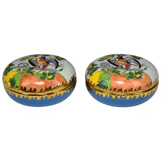 20th Century French Trinket or Jewelery Longwy Boxes - a Pair For Sale