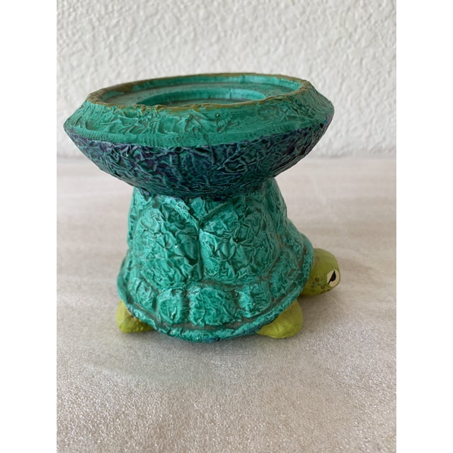 Fabulous midcentury sheepish ceramic turtle pedestal candle holder. If the flint stones had a turtle this would be it....