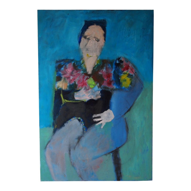 Original Charles Li Hidley Abstract Expressionist Lady Portrait Oil on Canvas Painting For Sale