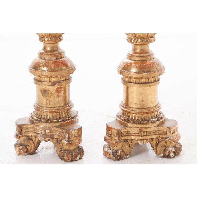 French 19th Century Gold Gilt Altar Torcheres - a Pair For Sale - Image 4 of 8