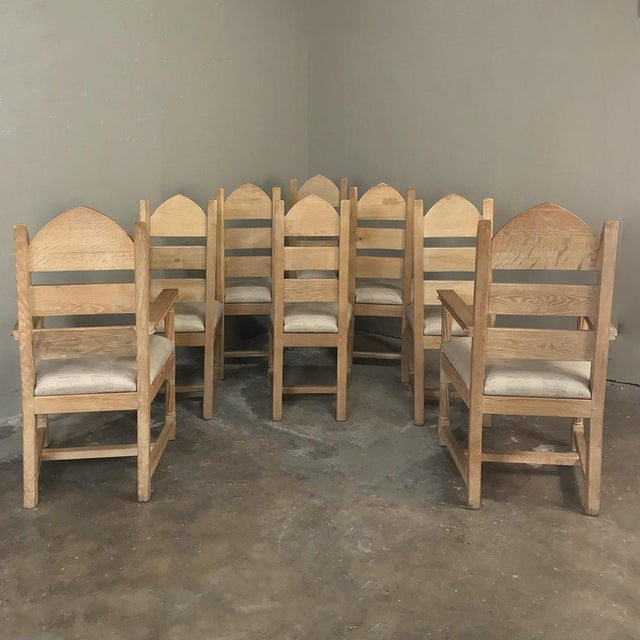 Set of 8 Antique Gothic Dining Chairs Includes 2 Armchairs For Sale - Image 12 of 13