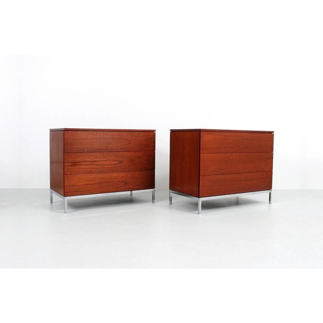 Matched pair of dressers in teak designed by Florence Knoll for Knoll International. Each dresser with three drawers, top...