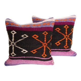 Vintage Turkish Kilim Cushions - Pair