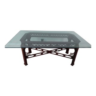 Chinese Chippendale Tempered Glass-Top Wood Dining Table For Sale