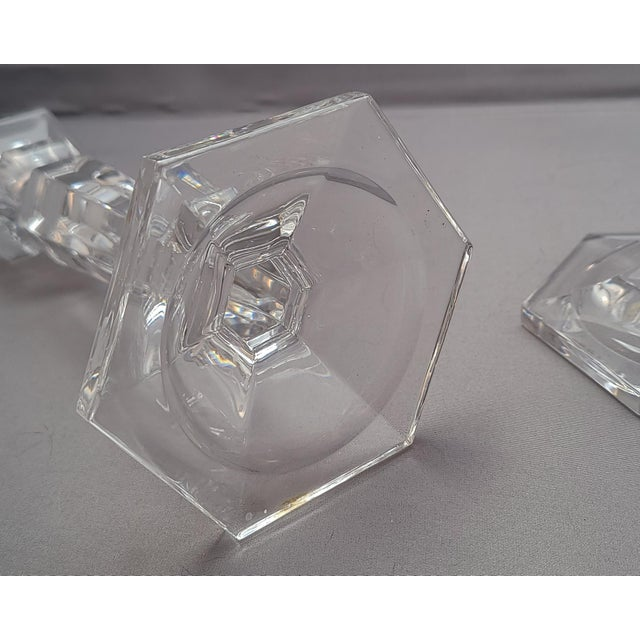 Glass Decorative Glass Tabletop Candlestick Stands - a Pair For Sale - Image 7 of 8