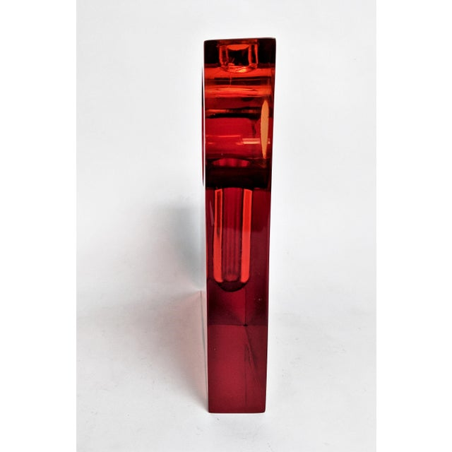 Orange Lucite Bud Vase For Sale - Image 9 of 11