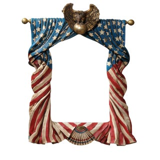 Rare Stunning Huge Draped American Flag Eagle Whimsical Wall Mirror For Sale