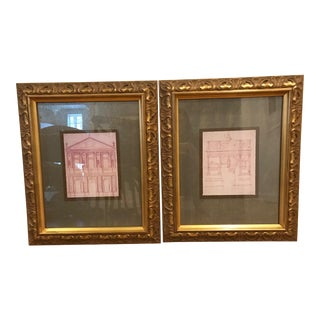 Gold Framed Architectural Roman Buildings Prints - A Pair