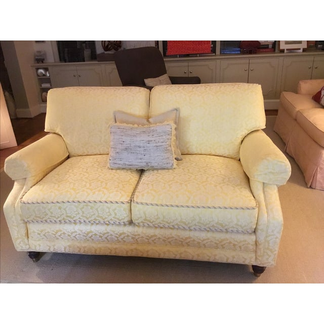 Yellow Damask Loveseats - A Pair - Image 2 of 5