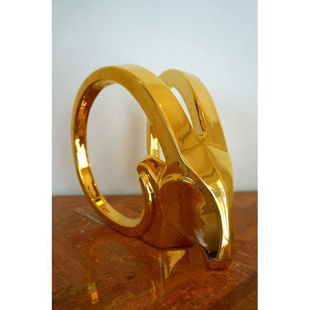 Mid-Century Modern Gold Ibex Rams Head Statue by Jaru For Sale - Image 3 of 8