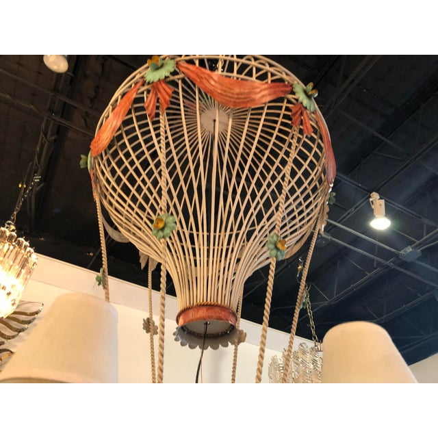 1970s Vintage Italian Tole Metal Hot Air Balloon Chandelier For Sale - Image 5 of 13