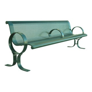 DuMor 59 Series Steel Green Park Outdoor Bench With Perforated Seat For Sale