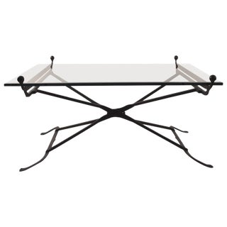 Wrought Iron Glass Top Coffee Table in the Gothic Style For Sale