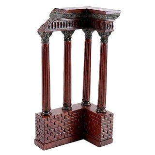 Antique Italian Grand Tour Mahogany Wood & Bronze Roman Ruins Neoclassical Model For Sale