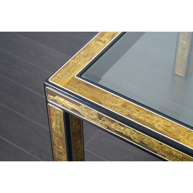 Yellow Vintage Etched Brass Dining Table by Mastercraft For Sale - Image 8 of 9