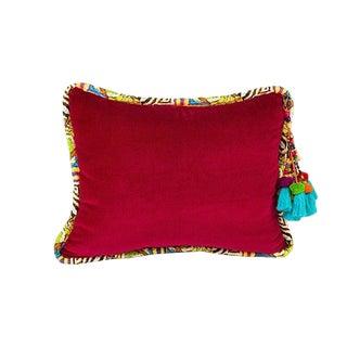 Fuschia Mara Stripe Velvet Pillow For Sale
