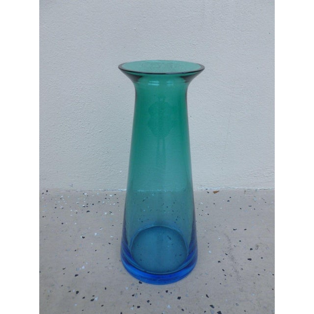 Glass 1970s Vintage Barbini for Murano Italian Futuristic Stoppered Bottles - A Pair For Sale - Image 7 of 11