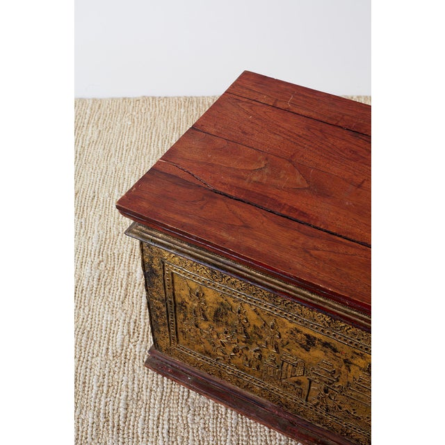 19th Century Burmese Gilded Chest or Trunk Table For Sale - Image 9 of 13