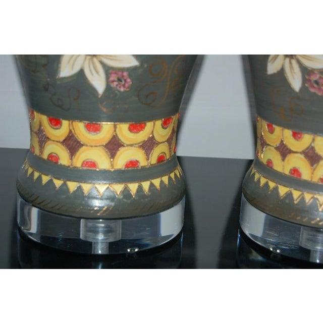 1960s Vintage Italian Ceramic Deruta Hand Painted Lamps For Sale - Image 5 of 11