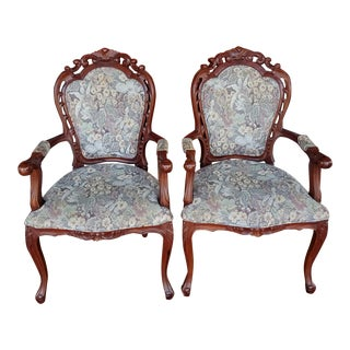 Vintage Louis XVI Style Carved Wood Arm Chairs - a Pair For Sale