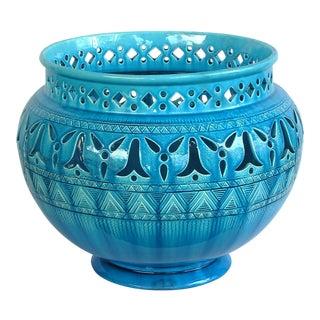 English Burmantofts Faience Teal-Glazed Pierce-Work Jardinière/Urn/Pot For Sale
