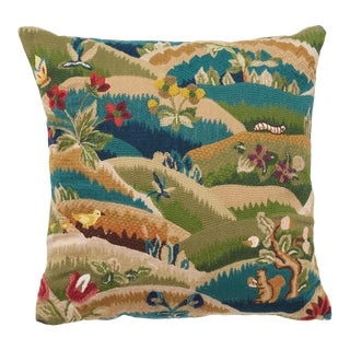 Schumacher Gerry Embroidery Hand-Stitched Multi-Color Two-Sided Pillow For Sale