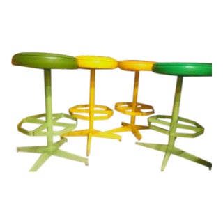 1960s Vintage Cal-Style Swivel Barstools- Set of 4 For Sale