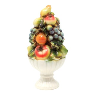 Vintage Petite Fruit Topiary Centerpieces With Grapes, Apples, Peaches and Lemons For Sale
