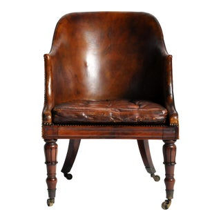 19th Century Napoleon III Round Back Leather Chair with Original Brass Casters