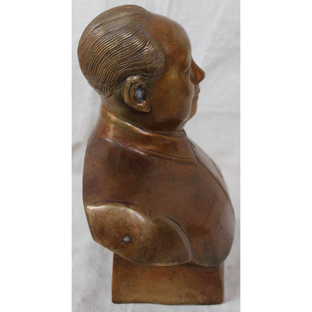 1950s Vintage Chinese Bronze Bust of Chairman Mao For Sale - Image 5 of 6