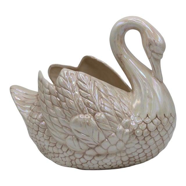 Cream Lusterware Swan Cachepot Planter For Sale