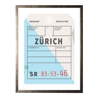 Zurich Travel Ticket Framed Print 23.5ʺ × 29.5ʺ For Sale