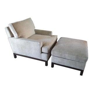 Dunbar-Style Club Chair Recliner & Ottoman