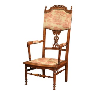 19th Century French Louis XVI Carved Walnut Chauffeuse Chair With Vintage Fabric For Sale