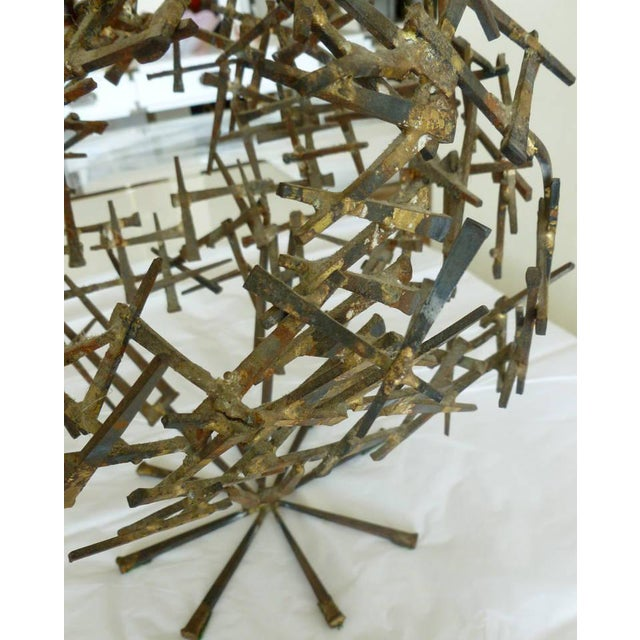Gold 1970s Brutalist Abstract One of Kind Tabletop Nail Sculpture For Sale - Image 8 of 11