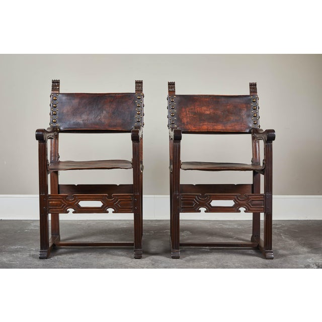 20th C. South American Armchairs W/ Leather Seat & Back - a Pair For Sale - Image 12 of 12