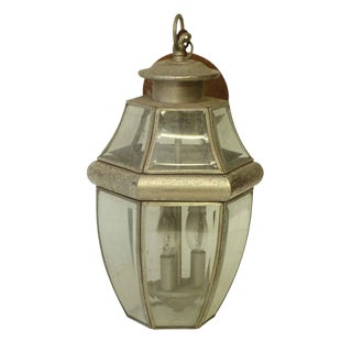 Pewter Color Hanging Lantern With Three Lights For Sale