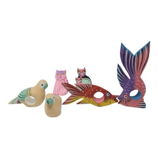 Vintage Wooden Parrot, Fish and Cats Napkin Rings Set of 6 For Sale