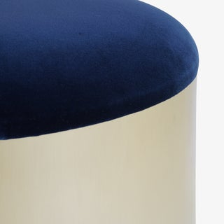 """Brushed Brass """"Mushroom"""" Pouf in Velvet by Montage Preview"""