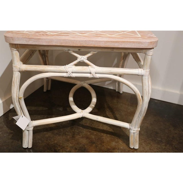 1990s White-Wash Finish Rattan Occasional Table For Sale - Image 5 of 11