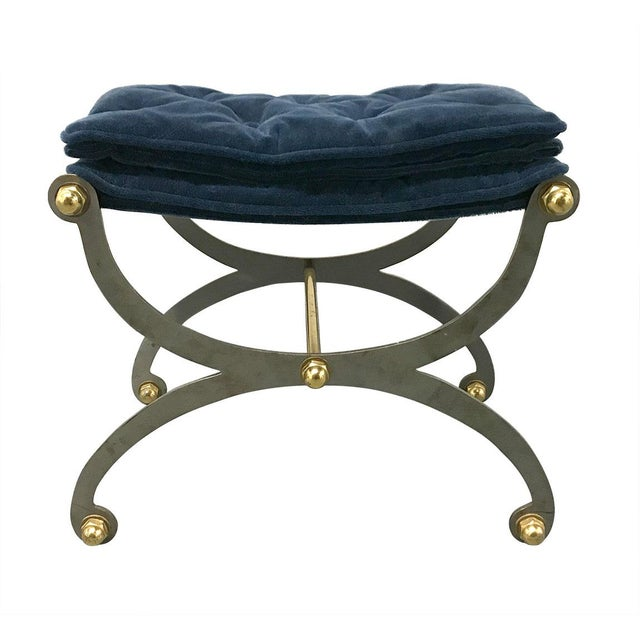 Vintage Steel, Brass and Mohair Campaign Cerule Stool For Sale - Image 10 of 10