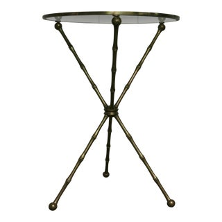 Vintage Brass Italian Faux Bamboo Gueridon Side Table For Sale
