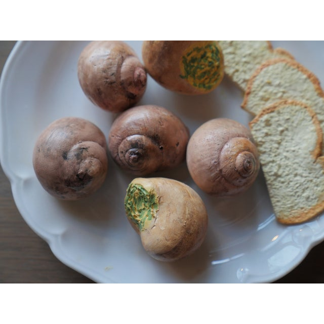Christine Viennet Trompe L'oeil Plate. Features Snails and Toast. Very French!