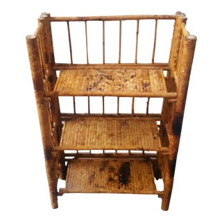 Asian Antique Bamboo Collapsible 3-Tier Etagere
