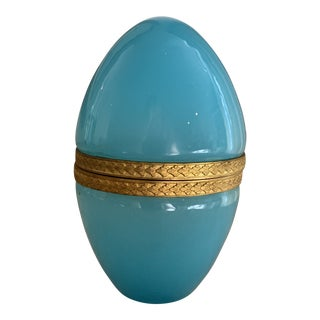 Antique Blue French Turquoise Opaline Hinged Egg Box For Sale