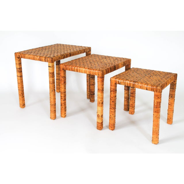 Boho Rattan Wrapped Nesting Tables S/3 For Sale - Image 10 of 10