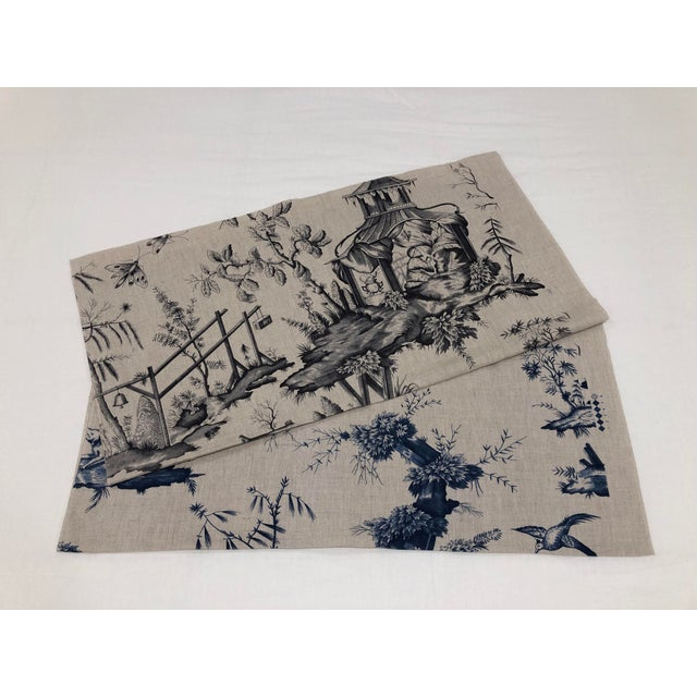 Charcoal Schumacher Chinoiserie Linen Fabrics - A Pair For Sale - Image 7 of 7